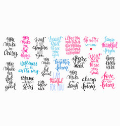 love valentines day quote typography set vector image