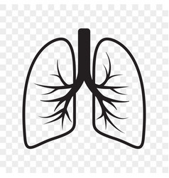 Lungs outline icon cold cough and bronchitis lung vector