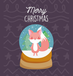 merry christmas celebration snowglobe with fox vector image