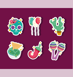 mexico culture icon set stickers decoration skull vector image