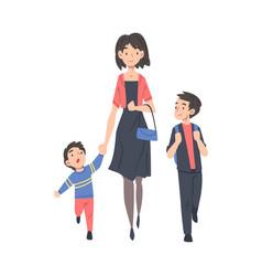 mother taking her children to school in the vector image