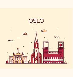 oslo city skyline norway linear style city vector image