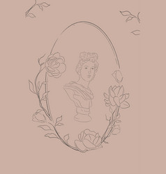 oval floral frame with jasmine flowers vector image