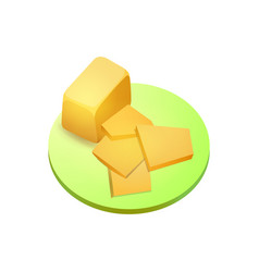 Piece of cheddar cheese vector