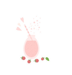 raspberry shake smoothie in glass jar on a table vector image