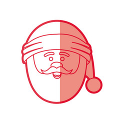 Red silhouette of santa claus face with christmas vector