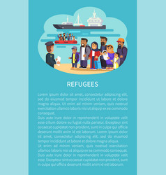 Refugee poster and text sample vector