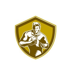Rugby player running fending shield retro vector