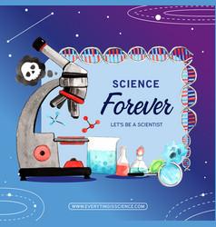Science wreath design with microscope beaker vector