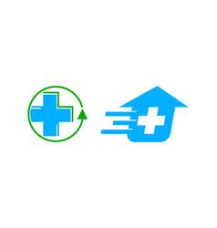 set of fast medical logo design template vector image