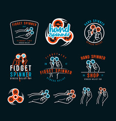 set of hand spinner emblems vector image