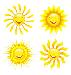Set of stylized smiling sun cartoon vector