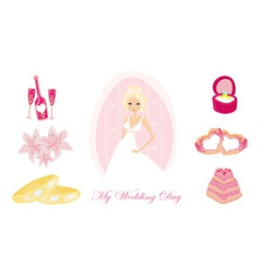 Set of wedding icons with bride vector