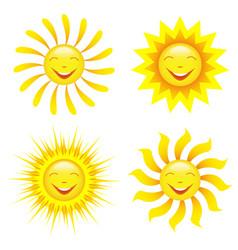 Set stylized smiling sun cartoon vector