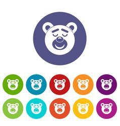 Sleeping teddy bear icons set flat vector