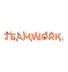 teamwork text design with vector image