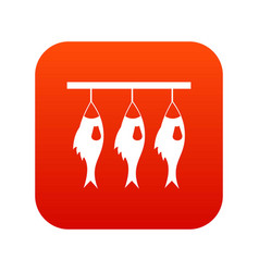 three dried fish hanging on a rope icon digital vector image
