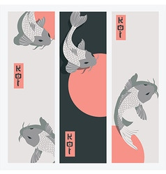 Three vertical banners with carp koi fish swimming vector