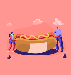 tiny people holding huge hot dog with yellow vector image
