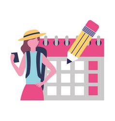 tourist woman calendar pencil labor day vector image
