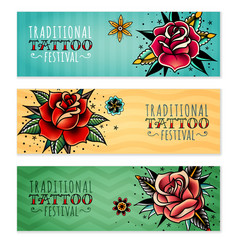 Traditional tattoo roses horizontal banners vector