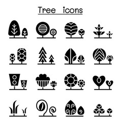 Tree plant icon set vector
