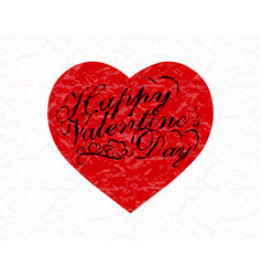 Valentine s day red heart with a congratulatory vector