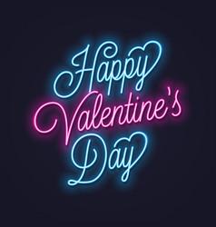 valentines day neon sign vintage valentine vector image