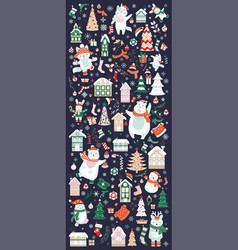 vertical banner christmas characters and elements vector image