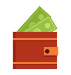wallet with money cartoon vector image
