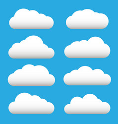 white cloud icon set fluffy clouds cloudy vector image