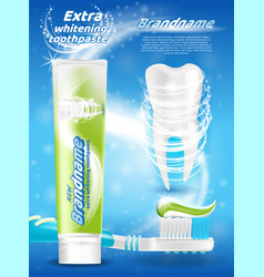 Whitening toothpaste branded promo poster vector