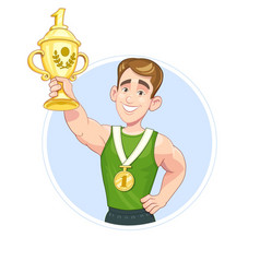 winner sportsman with cup vector image