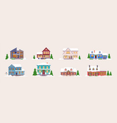winter house building icon set on white background vector image