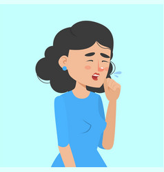 woman coughing and holding fist at mouth vector image