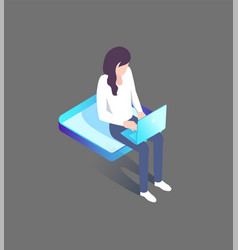 woman typing on laptop sitting on platform 3d icon vector image