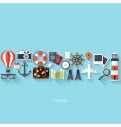 World travel concept background Flat icons vector image