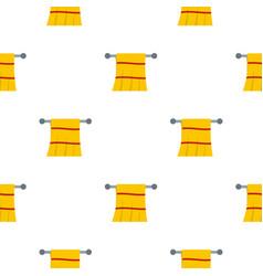 Yellow towel hanging on hanger pattern seamless vector