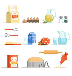 different food ingredients for baking and cooking vector image