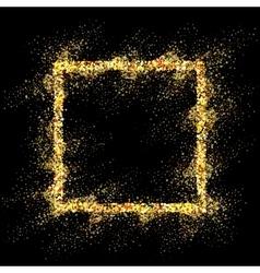 Golden frame on black background vector image vector image