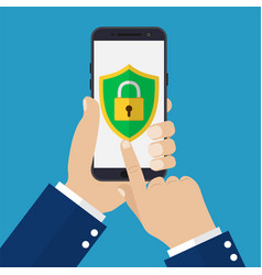 hand holding smartphone with mobile security vector image vector image