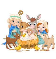 Holy Family at Christmas night vector image