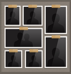 page of photo album with photo frames and corner vector image