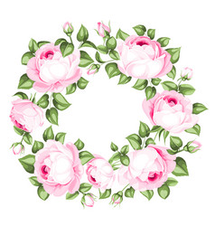 awesome garland of blooming roses vector image vector image