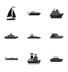 Maritime transport icons set simple style vector image