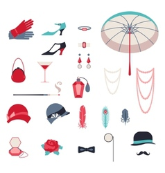 Retro personal accessories icons and objects of vector image