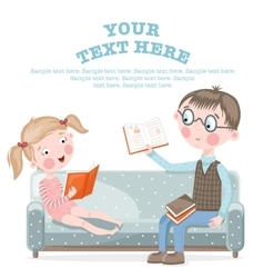 School children do homework sitting on the couch vector image