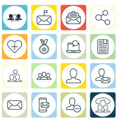 set of 16 social icons includes online letter vector image vector image