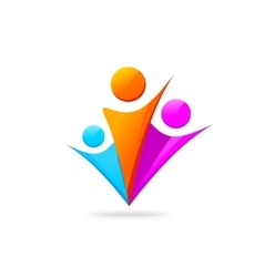 Three happy people with hands together logo vector image