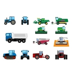 Agricultural machinery set vector image vector image